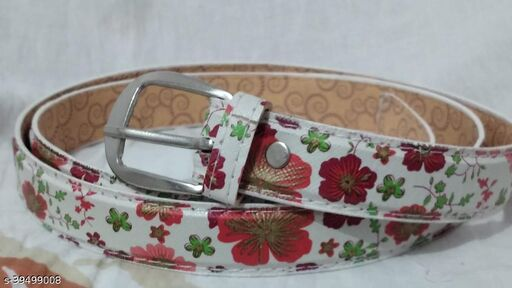 Floral Girls Belt with a Printed Pink(Formal/Casual) for Jeans/Shorts/Skirts(pack of 1)