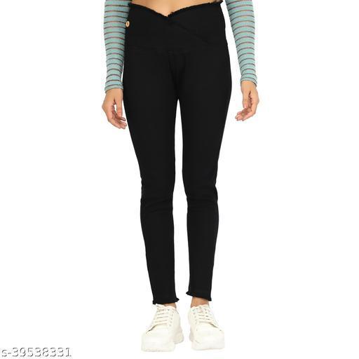 Angel Fab Black Denim Solid Skinny Fit Jeggings For Women