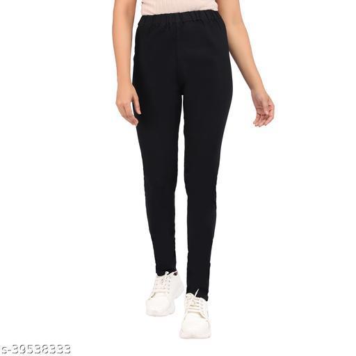 Angel Fab Black Denim Solid Regular Fit Jeggings For Women