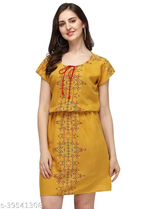 Stylish Retro Rayon Sulb Women Dress