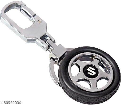 Maruti Suzuki Spinning Tyre Rotary Wheel Locking Metal Keychain