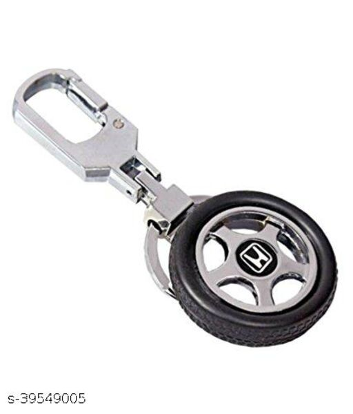 Honda Car Rubber Spinning Rubber Tyre Rotary Wheel Locking Metal Keychain