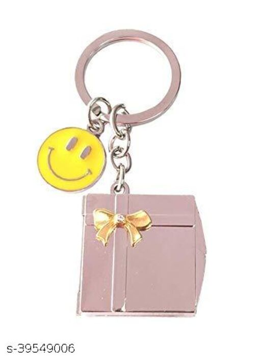 Book Shape Double Photo Frame With Smiley Metallic Keychain
