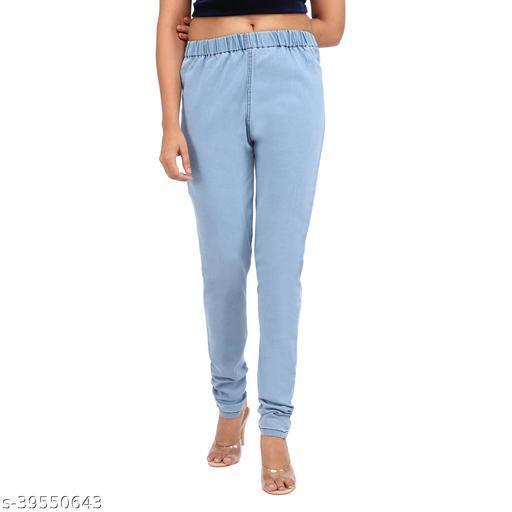 Angel Fab Sky Blue Denim Solid Regular Fit Jeggings For Women