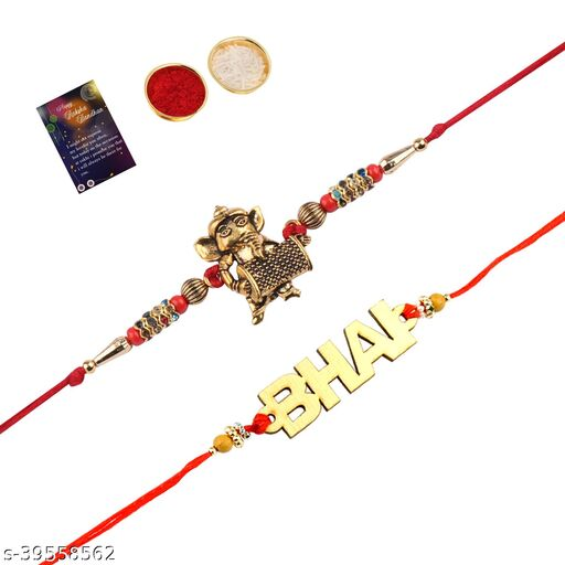 "Elegant  Bhaiya Rakhi "" BHAI"" Designe With  Designer Look""BAL GANESH""Rakhi Combo  For Bhaiya With Roli Chawal And  Greeting Card"