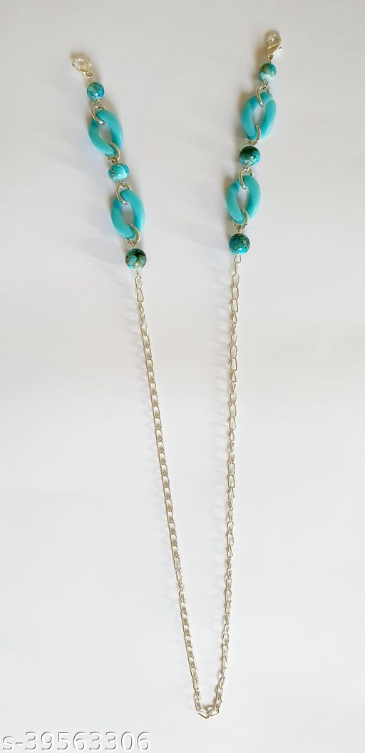 Heddz Turquoise Marble Beaded Acrylic and Metal Mask Chain - Mask Holder Lanyard Chain - Acrylic Beaded Eye Glasses Chain Eyeglass Holder - Fashion Chains and Beaded Mask Cords for Adults and Kids