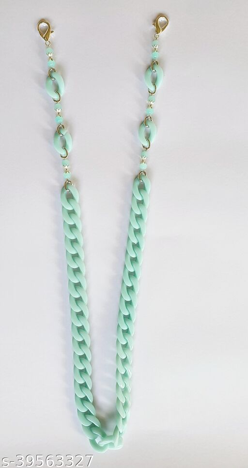 Heddz Blue Acrylic Mask Chain - Mask Holder Lanyard Chain - Acrylic Beaded Eye Glasses Chain Eyeglass Holder - Fashion Chains and Beaded Mask Cords for Adults and Kids