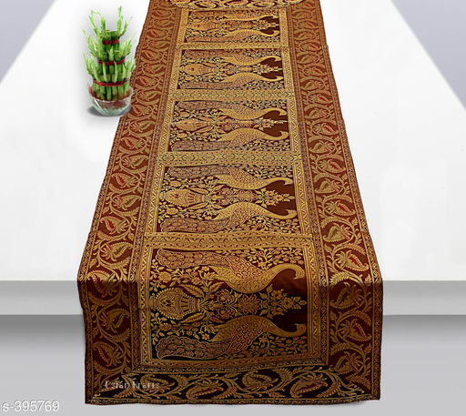 Colorful Poly Satin Table Runner (Coffee)