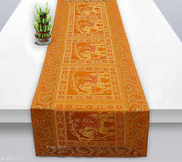 Colorful Poly Satin Table Runner (Mustard Yellow)