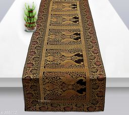 Colorful Poly Satin Table Runner (Black)