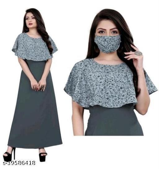 AJ-New Stylish American Crepe Printed Flar gown