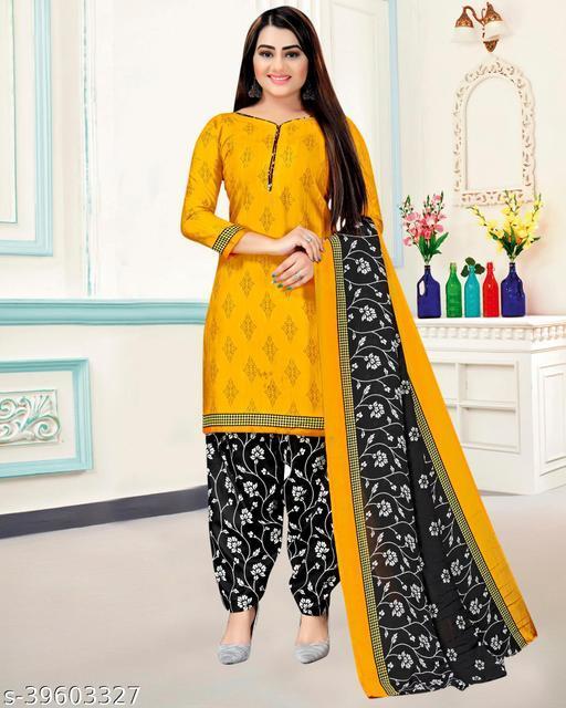 Fab Kudi Women's Yellow Cotton Printed Unstitched Salwar Suit Material