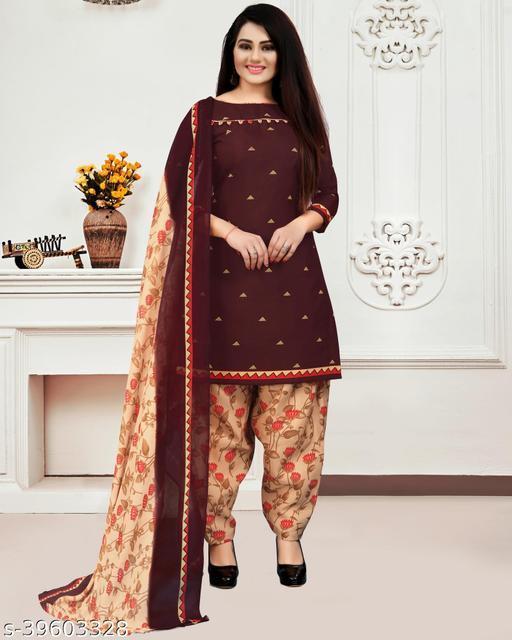 Fab Kudi Women's Brown Cotton Printed Unstitched Salwar Suit Material