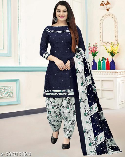 Fab Kudi Women's Navy Blue Cotton Printed Unstitched Salwar Suit Material