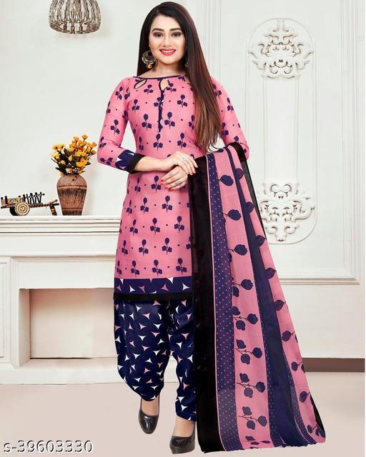 Fab Kudi Women's Pink Cotton Printed Unstitched Salwar Suit Material