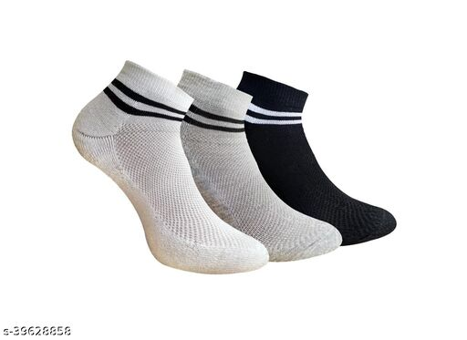 pair of 3 socks with 2 stripes  (2 white and 1 black )