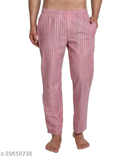 FTX Men's Cotton Rich Striped Casual Track Pants - 506 Pink