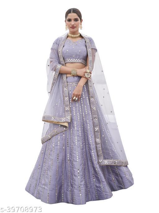 Women's Purple Net Embroidered Semi-Stitched Semi-Stitched Lehenga Choli