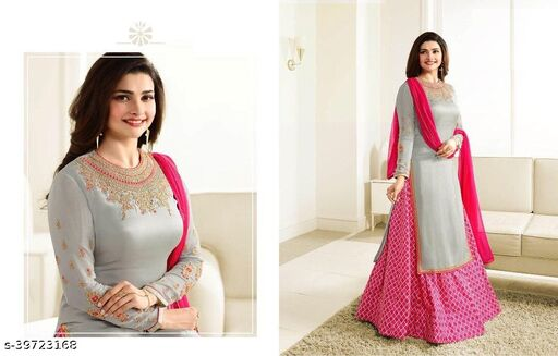 Women's Grey Japan Crept Semi-Stitched Embroidered Indo-Western Salwar Suit (Free Size)
