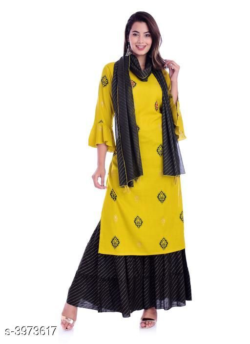 Kurta Sets Traditional  Stylish Women's Kurta Sets  *Kurta Fabric* Rayon  *Bottomwear Fabric* Rayon  *Dupatta Fabric* Rayon  *Sleeve Length* Three-Quarter Sleeves  *Set Type* Kurta With Dupatta And Palazzo  *Bottom Type* Palazzos  *Pattern* Printed  *Multipack* Single  *Sizes*  Kurti - M - 38 in, L - 40 in, XL - 42 in, XXL - 44 in, Palazzo - M - 30 in, L - 32 in, XL - 34 in, XXL - 36 in,Dupatta - 2 Mtr  *Sizes Available* M, L, XL, XXL   SKU: VDH66 Free shipping is available for this item. Pkt. Weight Range: 200  Catalog Name: Traditional  Stylish Women's Kurta Sets Vol 1 - ViDeH Ethnic Center Code: 9631-3973617--