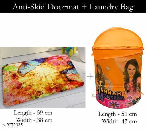 Laundry Aids Dream Home Trendy   Laundry Bags & Door Mat  *Material* Door - Velvet,  Laundry Bag - Polyester  *Size (L X W X H)* Door Mat - 59 cm X 38 cm,Laundry Bag  *Description* It Has 1 Piece Of  Door  Mat &  1 Piece Of   Laundry Bag  *Work* Printed  *Sizes Available* Free Size *    Catalog Name: Dream Home Trendy Laundry Bags & Door Mat CatalogID_560815 C131-SC1626 Code: 383-3973635-