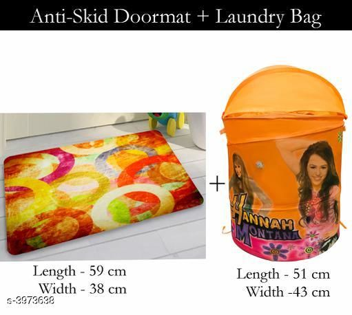 Laundry Aids Dream Home Trendy   Laundry Bags & Door Mat  *Material* Door - Velvet,  Laundry Bag - Polyester  *Size (L X W X H)* Door Mat - 59 cm X 38 cm,Laundry Bag  *Description* It Has 1 Piece Of  Door  Mat &  1 Piece Of   Laundry Bag  *Work* Printed  *Sizes Available* Free Size *    Catalog Name: Dream Home Trendy Laundry Bags & Door Mat CatalogID_560815 C131-SC1626 Code: 383-3973638-