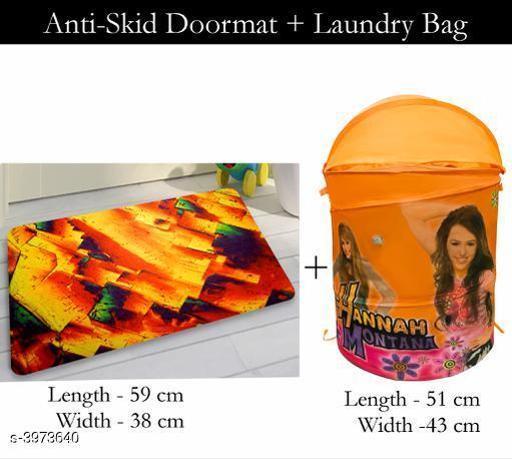 Laundry Aids Dream Home Trendy   Laundry Bags & Door Mat  *Material* Door - Velvet,  Laundry Bag - Polyester  *Size (L X W X H)* Door Mat - 59 cm X 38 cm,Laundry Bag  *Description* It Has 1 Piece Of  Door  Mat &  1 Piece Of   Laundry Bag  *Work* Printed  *Sizes Available* Free Size *    Catalog Name: Dream Home Trendy Laundry Bags & Door Mat CatalogID_560815 C131-SC1626 Code: 383-3973640-