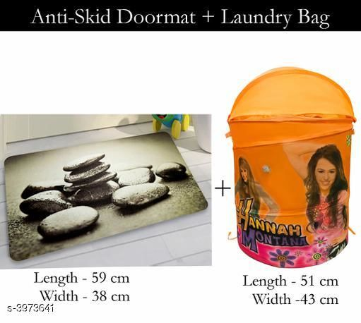 Laundry Aids Dream Home Trendy   Laundry Bags & Door Mat  *Material* Door - Velvet,  Laundry Bag - Polyester  *Size (L X W X H)* Door Mat - 59 cm X 38 cm,Laundry Bag  *Description* It Has 1 Piece Of  Door  Mat &  1 Piece Of   Laundry Bag  *Work* Printed  *Sizes Available* Free Size *    Catalog Name: Dream Home Trendy Laundry Bags & Door Mat CatalogID_560815 C131-SC1626 Code: 383-3973641-