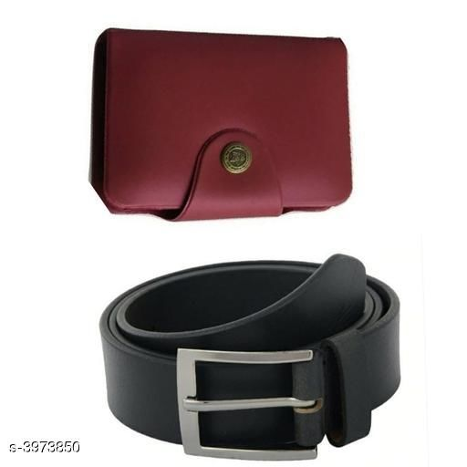 Others Elegant Men's Apparel Accessories Combo (Pack Of 2)  *Material* Belt - Leather, Wallet - Leather  *Size* Belt - 28 in, 30 in, 32 in, 34 in, 36 in, Wallet  *Length* Belt - 38 in  *Description* It Has 1 Piece Of Men's Belt & 1 Piece Of Men's Wallet  *Pattern* Belt - Solid, Wallet - Solid  *Sizes Available* Free Size, 28, 30, 32, 34, 36 *    Catalog Name: Divine Elegant Men's Apparel Accessories Combo Vol 1 CatalogID_560707 C80-SC1256 Code: 982-3973850-