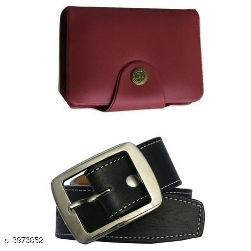 Others Elegant Men's Apparel Accessories Combo (Pack Of 2)  *Material* Belt - Leather, Wallet - Leather  *Size* Belt - 28 in, 30 in, 32 in, 34 in, 36 in, Wallet  *Length* Belt - 38 in  *Description* It Has 1 Piece Of Men's Belt & 1 Piece Of Men's Wallet  *Pattern* Belt - Solid, Wallet - Solid  *Sizes Available* Free Size, 28, 30, 32, 34, 36 *    Catalog Name: Divine Elegant Men's Apparel Accessories Combo Vol 1 CatalogID_560707 C80-SC1256 Code: 982-3973852-