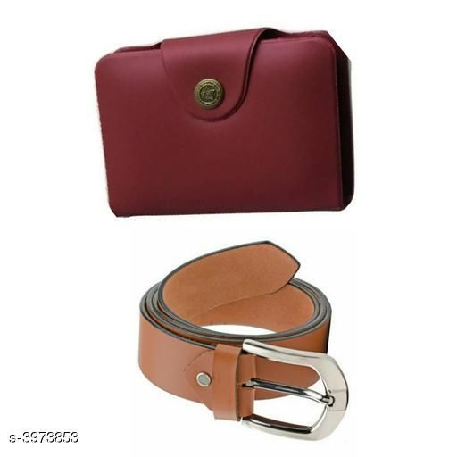 Others Elegant Men's Apparel Accessories Combo (Pack Of 2)  *Material* Belt - Leather, Wallet - Leather  *Size* Belt - 28 in, 30 in, 32 in, 34 in, 36 in, Wallet  *Length* Belt - 38 in  *Description* It Has 1 Piece Of Men's Belt & 1 Piece Of Men's Wallet  *Pattern* Belt - Solid, Wallet - Solid  *Sizes Available* Free Size, 26, 28, 30, 32, 34, 36 *    Catalog Name: Divine Elegant Men's Apparel Accessories Combo Vol 1 CatalogID_560707 C80-SC1256 Code: 982-3973853-