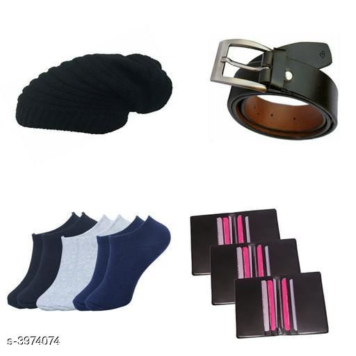 Belts Stylish Men's Apparel Accessory Combo (Pack Of 4)  *Material* Belt - Leather, Wallet - Leather, Socks - Cotton, Cap - Woolen  *Size* Belt - 28 in, 30 in, 32 in, 34 in, 36 in, Wallet  *Compartment* 12 Card Slots  *Description* It Has 1 Pieces Of Men's Belts, 1 Piece Of Wallet & 1 Piece Of Cap With 3 Pair Of Socks  *Pattern* Solid  *Sizes Available* 28, 30, 32, 34, 36 *    Catalog Name: Abhi Stylish Men'S Apparel Accessories Combo Vol 1 CatalogID_560855 C65-SC1222 Code: 063-3974074-