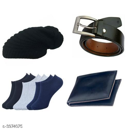 Belts Stylish Men's Apparel Accessory Combo (Pack Of 4)  *Material* Belt - Leather, Wallet - Leather, Socks - Cotton, Cap - Woolen  *Size* Belt - 28 in, 30 in, 32 in, 34 in, 36 in, Wallet  *Compartment* 12 Card Slots  *Description* It Has 1 Pieces Of Men's Belts, 1 Piece Of Wallet & 1 Piece Of Cap With 3 Pair Of Socks  *Pattern* Solid  *Sizes Available* 28, 30, 32, 34, 36 *    Catalog Name: Abhi Stylish Men'S Apparel Accessories Combo Vol 1 CatalogID_560855 C65-SC1222 Code: 063-3974075-