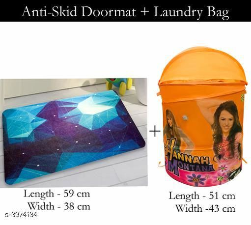 Laundry Aids Dream Home  Laundry Bags  & Door Mat  *Material* Door - Velvet,  Laundry Bag - Polyester  *Size (L X W X H)* Door Mat - 59 cm X 38 cm,Laundry Bag  *Description* It Has 1 Piece Of  Door  Mat &  1 Piece Of   Laundry Bag  *Work* Printed  *Sizes Available* Free Size *    Catalog Name: Dream Home Trendy Laundry Bags & Door Mat CatalogID_560894 C131-SC1626 Code: 383-3974134-