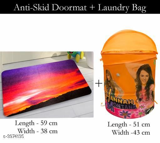 Laundry Aids Dream Home  Laundry Bags  & Door Mat  *Material* Door - Velvet,  Laundry Bag - Polyester  *Size (L X W X H)* Door Mat - 59 cm X 38 cm,Laundry Bag  *Description* It Has 1 Piece Of  Door  Mat &  1 Piece Of   Laundry Bag  *Work* Printed  *Sizes Available* Free Size *    Catalog Name: Dream Home Trendy Laundry Bags & Door Mat CatalogID_560894 C131-SC1626 Code: 383-3974135-