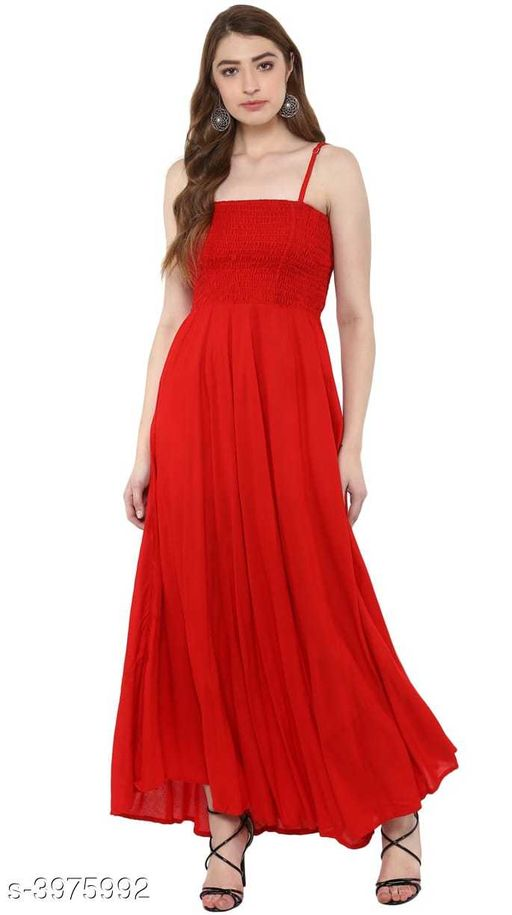 Women's Solid Red Dress