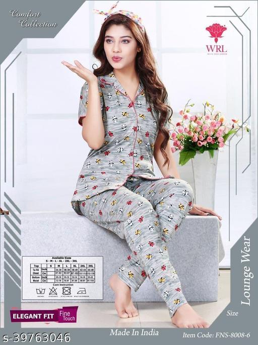Elegant Hosiery Cotton Women Shirt Pajama Nightsuit