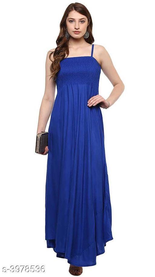 Women's Solid Blue Dress