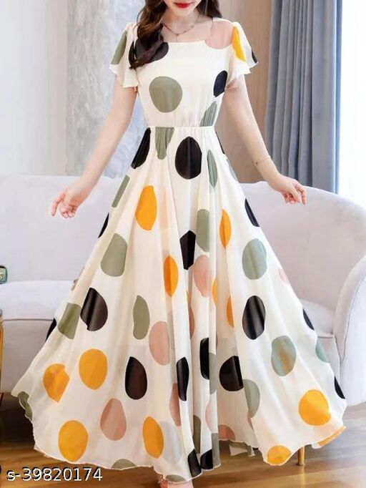 Women Multi Color Polka Dot White gowns