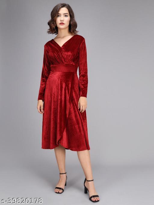 Women Maroon Velvet Layered Midi Dress