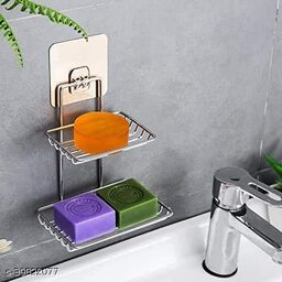 Wall Mounted Double Layer soap Dish Holder Stainless Steel Wall Hanging Soap Storage Rack for Kitchen Bathroom-with Self Adhesive Magic Sticker(Silver)
