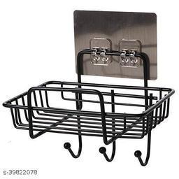 Soap Dishes Adhesive Soap Holder Stainless Steel Shower Soap Holder Sponge Box for Bathroom/Kitchen/Tile Mounted Shower Caddy with 3 Hook Hanger
