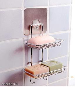 Bathroom Wall Mount Bathroom Corner Wall Mount Self-Adhesive Stainless Steel Waterproof Kitchen Bathroom Double-Layer Soap Dish Holder Pluse 2 Hook Hanger (soap Holder)