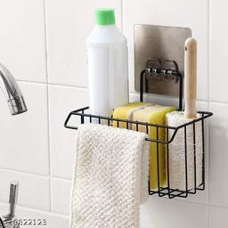 Kitchen and Bathroom Holder Storage Rack Organizer and Hanger Adhesive (Black)