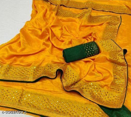 hot fix fancy saree yellow*