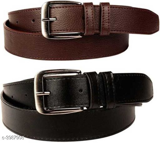 Artificial Leather Men's Belts (Pack Of 2)