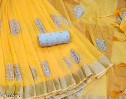 beautiful emboidery multi work chanderi saree with zari border