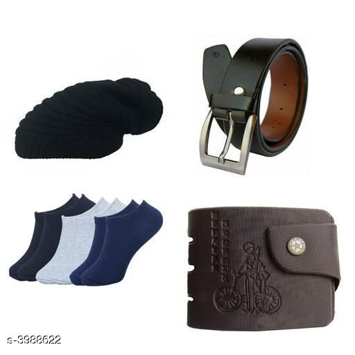 Belts Stylish Men's Apparel Accessories Combo (Pack Of 4)  *Material* Belt - Leather, Wallet - Leather, Socks - Cotton, Cap - Woolen  *Size* Belt - 28 in, 30 in, 32 in, 34 in, 36 in, Wallet  *Description* It Has 1 Pieces Of Men's Belts, 1 Piece Of Wallet & 1 Piece Of Cap With 1 Piece Of Socks  *Pattern* Solid  *Sizes Available* Free Size *    Catalog Name: Abhi Stylish Men'S Apparel Accessories Combo Vol 2 CatalogID_563375 C65-SC1222 Code: 093-3988622-