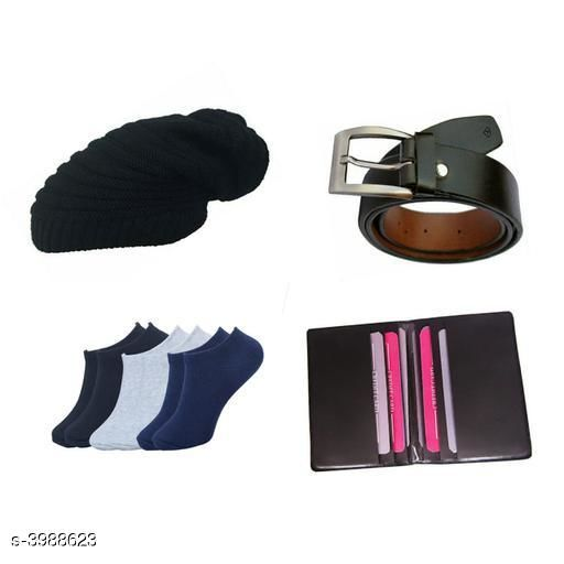 Belts Stylish Men's Apparel Accessories Combo (Pack Of 4)  *Material* Belt - Leather, Wallet - Leather, Socks - Cotton, Cap - Woolen  *Size* Belt - 28 in, 30 in, 32 in, 34 in, 36 in, Wallet  *Description* It Has 1 Pieces Of Men's Belts, 1 Piece Of Wallet & 1 Piece Of Cap With 1 Piece Of Socks  *Pattern* Solid  *Sizes Available* Free Size *    Catalog Name: Abhi Stylish Men'S Apparel Accessories Combo Vol 2 CatalogID_563375 C65-SC1222 Code: 093-3988623-
