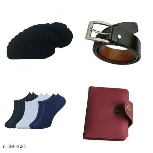 Belts Stylish Men's Apparel Accessories Combo (Pack Of 4)  *Material* Belt - Leather, Wallet - Leather, Socks - Cotton, Cap - Woolen  *Size* Belt - 28 in, 30 in, 32 in, 34 in, 36 in, Wallet  *Description* It Has 1 Pieces Of Men's Belts, 1 Piece Of Wallet & 1 Piece Of Cap With 1 Piece Of Socks  *Pattern* Solid  *Sizes Available* Free Size *    Catalog Name: Abhi Stylish Men'S Apparel Accessories Combo Vol 2 CatalogID_563375 C65-SC1222 Code: 093-3988625-